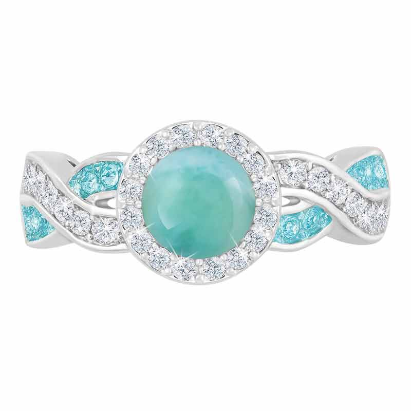 Birthday Gift Genuine Caribbean Larimar Ring Anniversary Gift Minimalist Jewelry Dainty Ring Small Ring Dainty Silver Ring