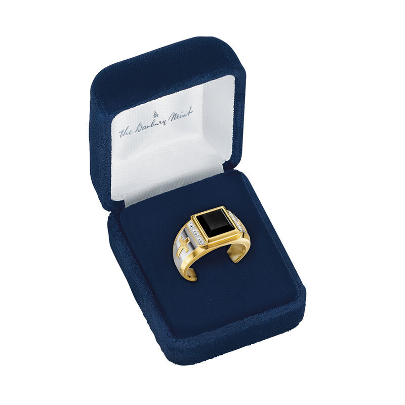 Divine Strength Diamond  Onyx Ring 6783 001 8 4