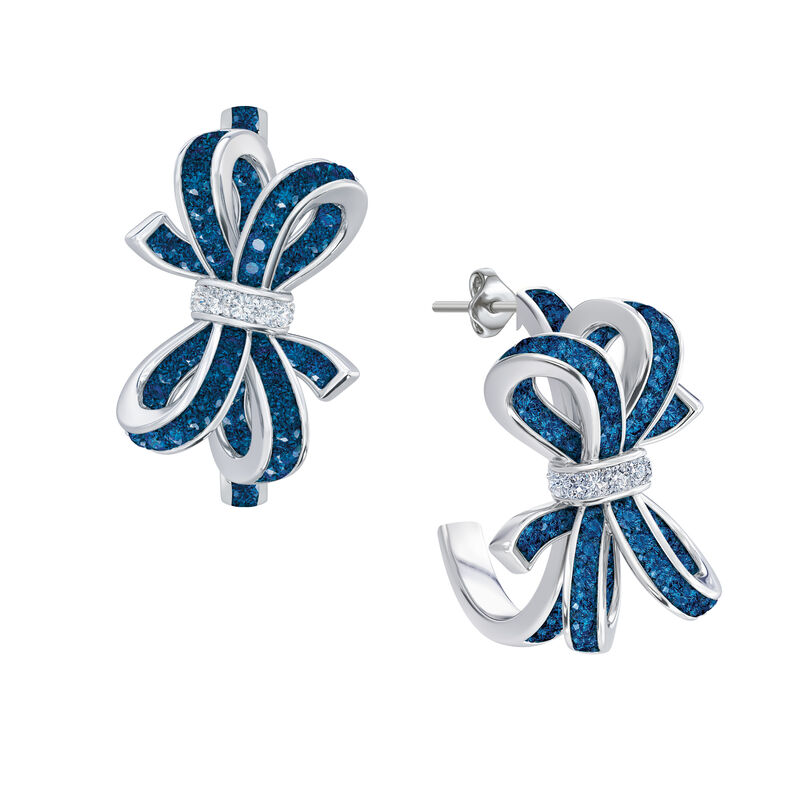 Birthstone Diamond Bow Earrings 1876 0066 i september