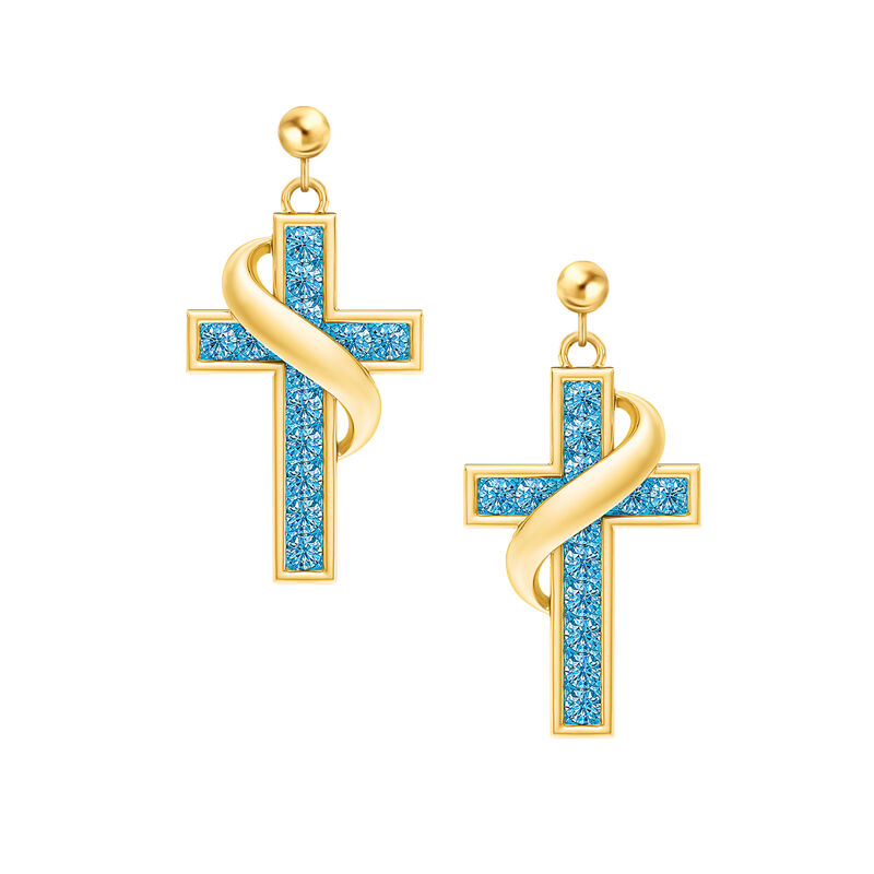 Birthstone Cross Earrings 5657 0021 l december