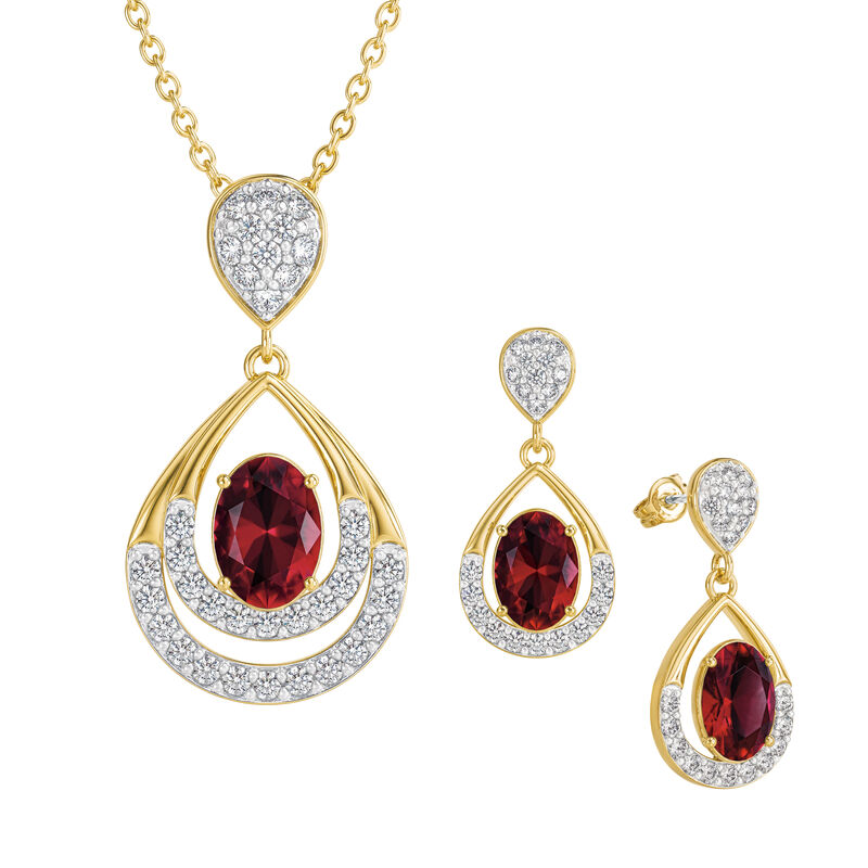 Birthstone Necklace Earring Set 6930 0010 g july