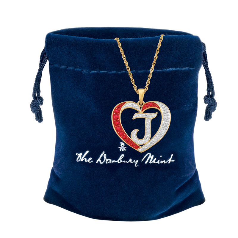 For My Daughter Diamond Initial Heart Pendant 10119 0015 z z gift pouch