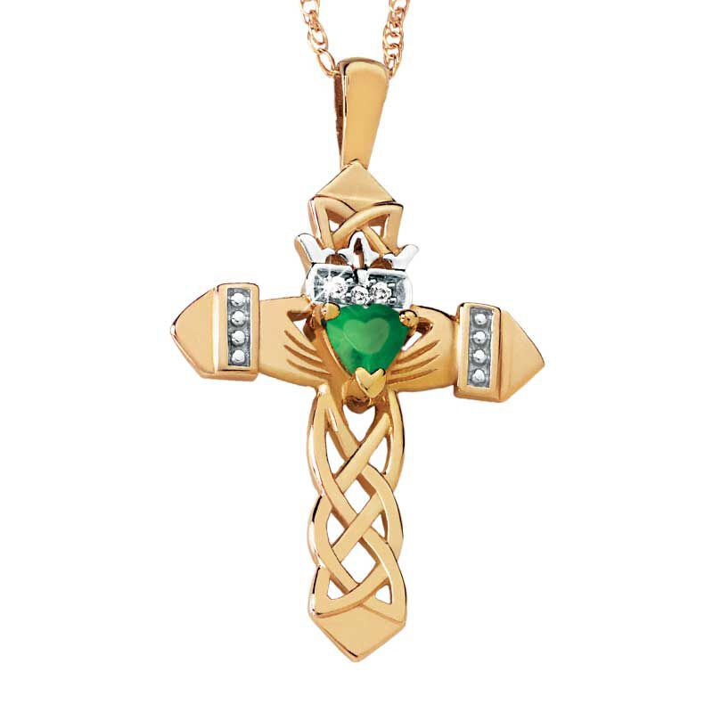 Emerald  Diamond Claddagh Cross 3684 002 3 1