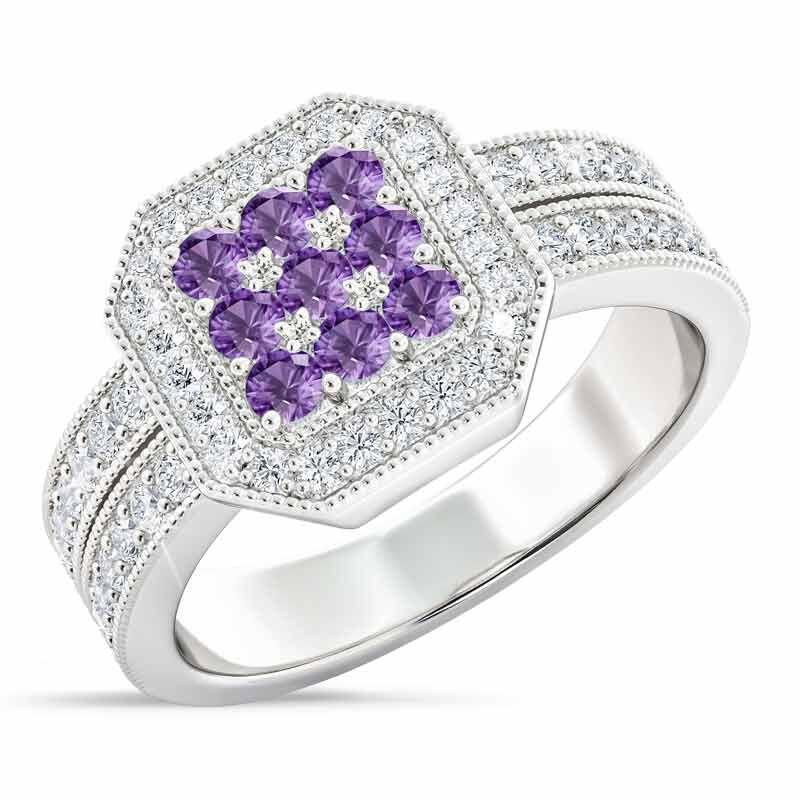 Flair  Square Personalized Birthstone  Diamond Ring 2306 001 5 2
