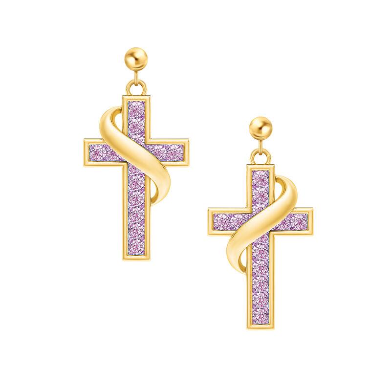 Birthstone Cross Earrings 5657 0021 f june