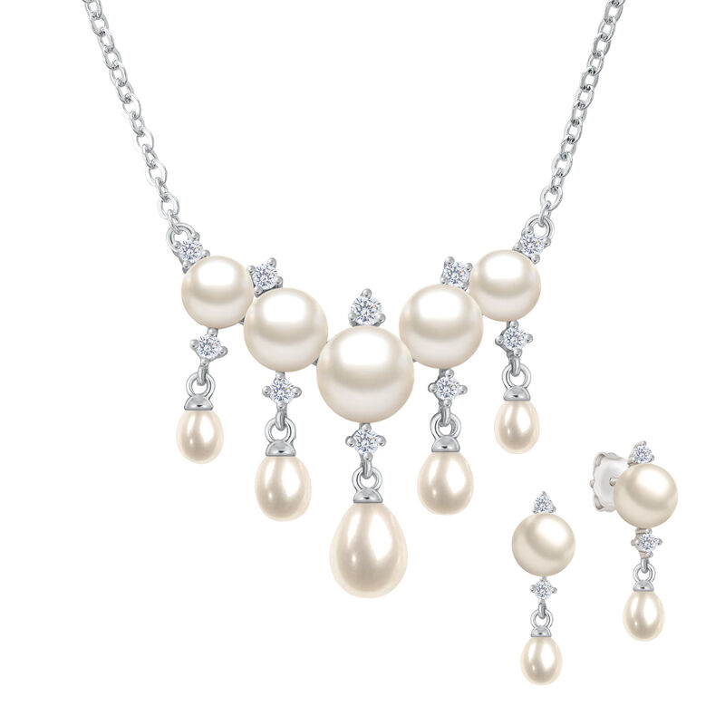 Cascading Pearls Necklace and Earring Set 6741 0019 a main