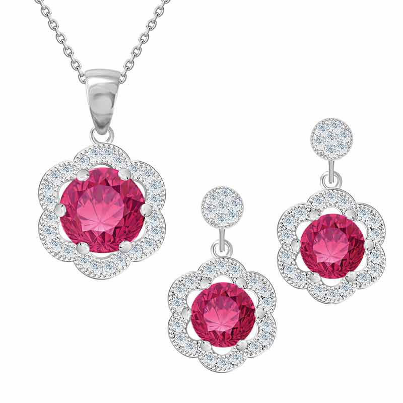 Daughter Pink Topaz Necklace  Earrings Set 4984 001 0 1