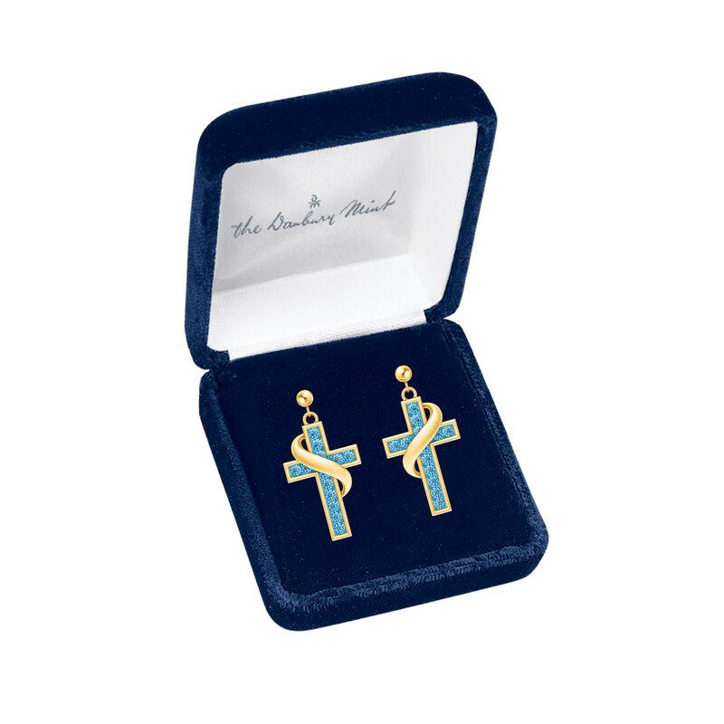 Birthstone Cross Earrings 5657 0021 m gift box