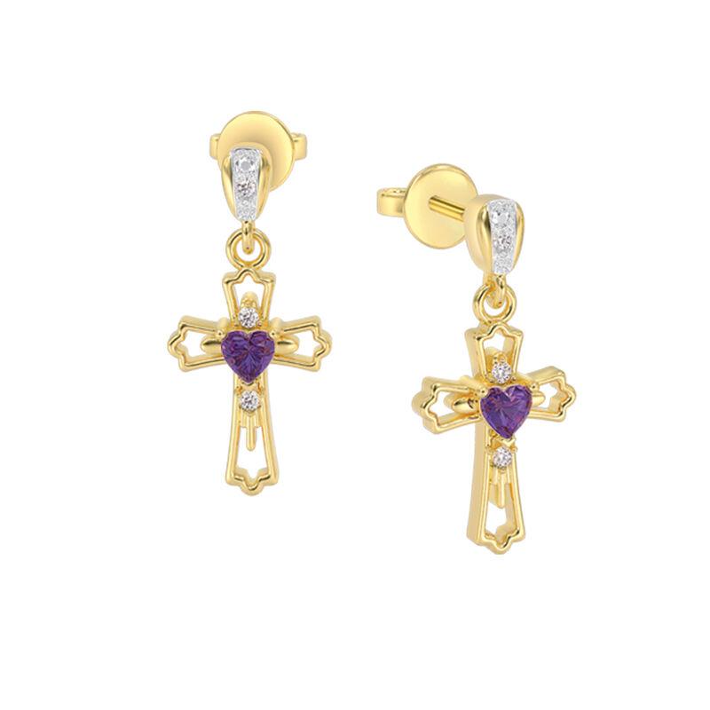 Amethyst Hearts Diamond Cross Pendant Earring Set 10402 0011 c earrings