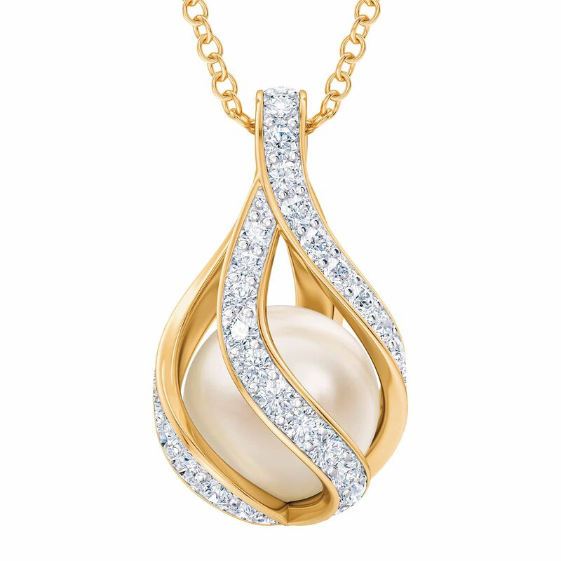 Loves Embrace Pearl  Diamond Necklace 1638 001
