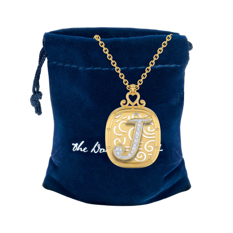 The Diamond Initial Pendant 6923 0019 g gift pouch