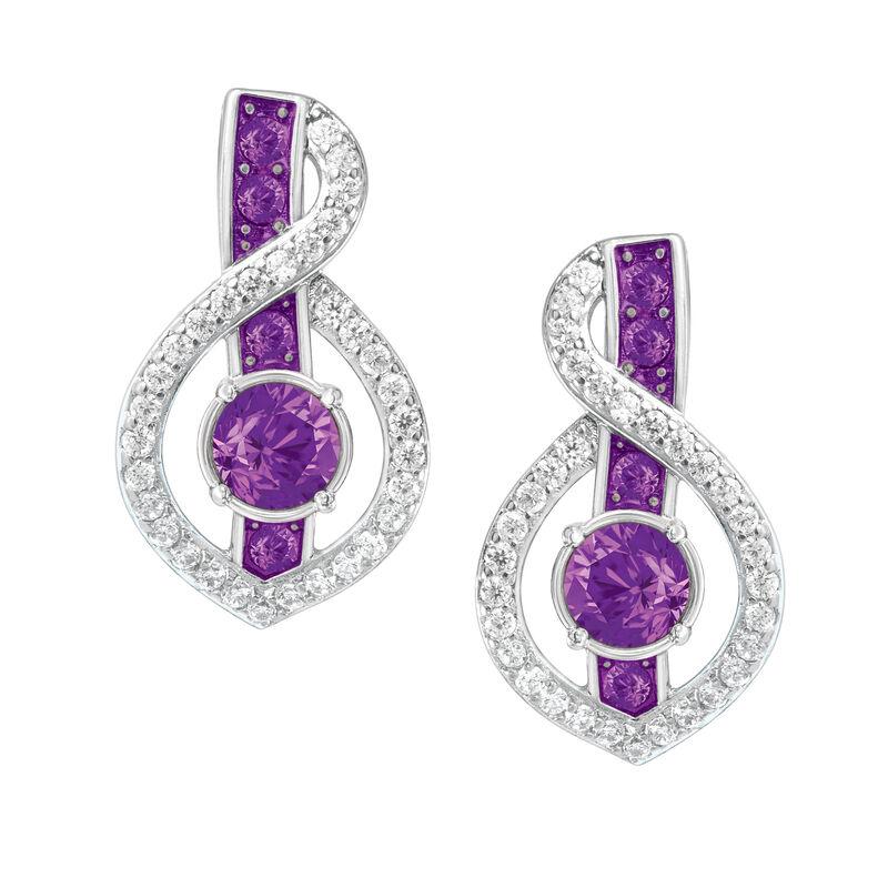 Birthstone Wave Earrings 2202 0069 b february