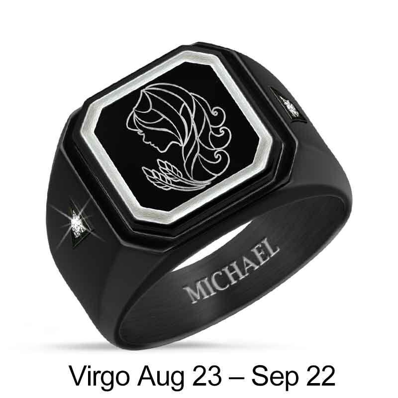 Personalized Zodiac Black Ice Ring 1438 001 8 9