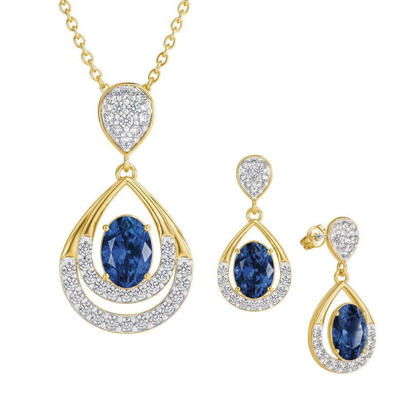 Birthstone Necklace Earring Set 6930 0010 i september