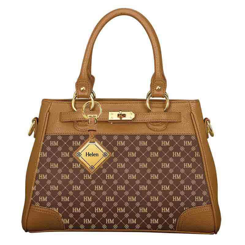 Personalized Initial Brown Handbag 1040 001 8 2