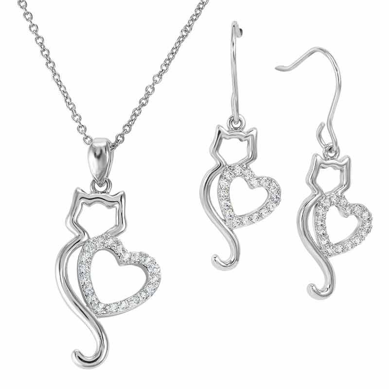 Kitty Love Pendant  Earring Set 4997 001 5 1