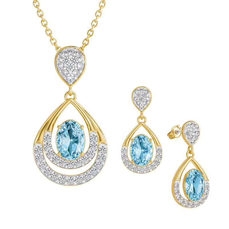 Birthstone Necklace Earring Set 6930 0010 c march