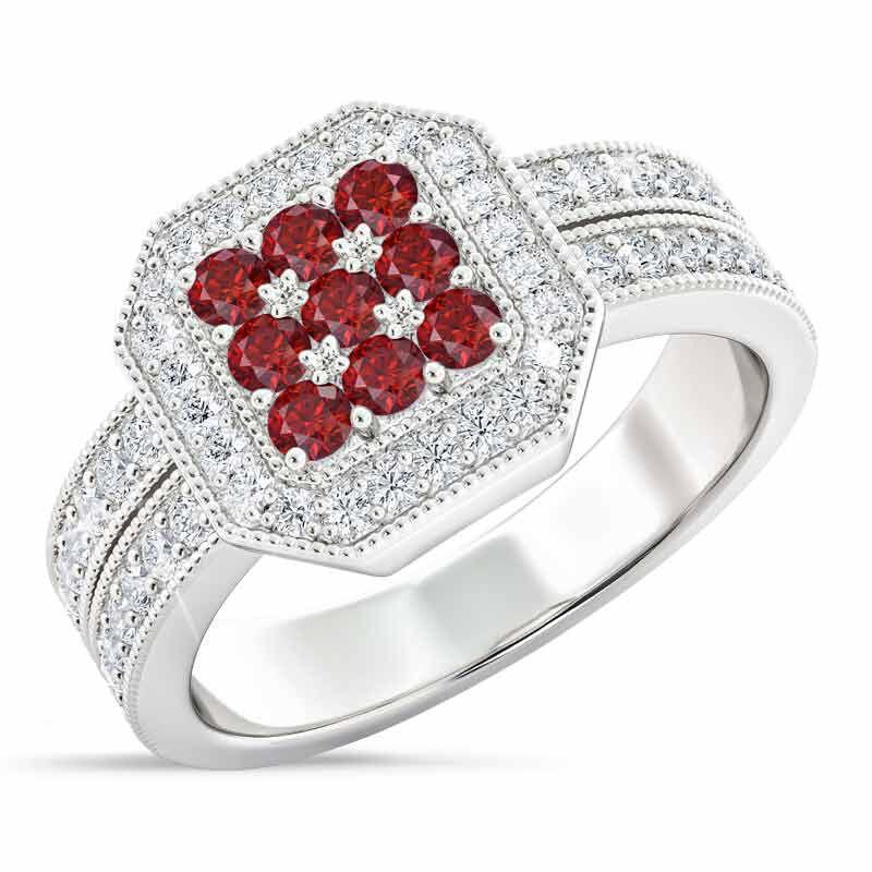 Flair  Square Personalized Birthstone  Diamond Ring 2306 001 5 1