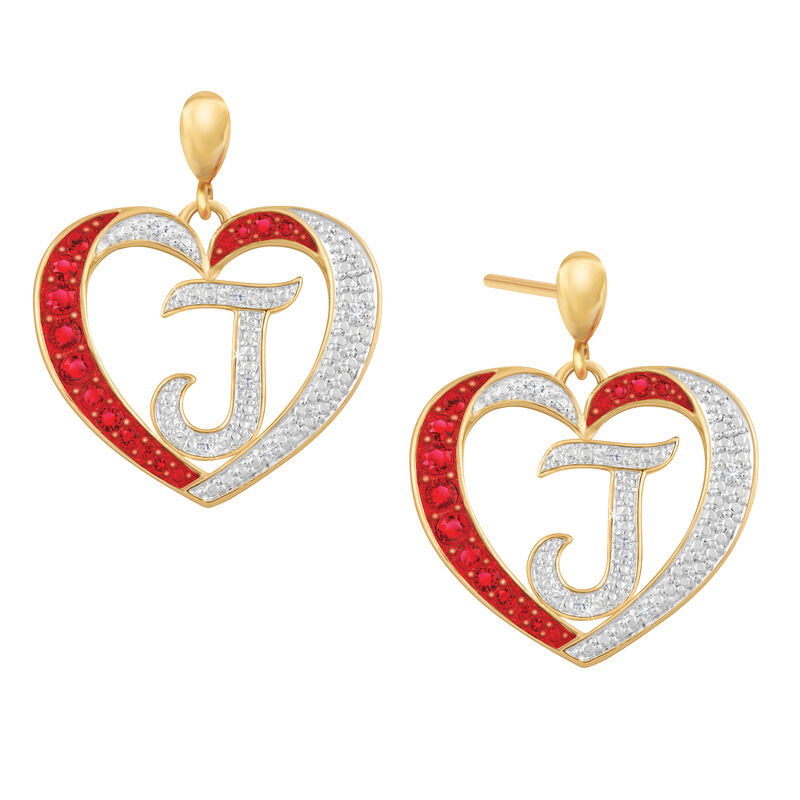 Diamond Initial Heart Earrings 2300 0094 j initial