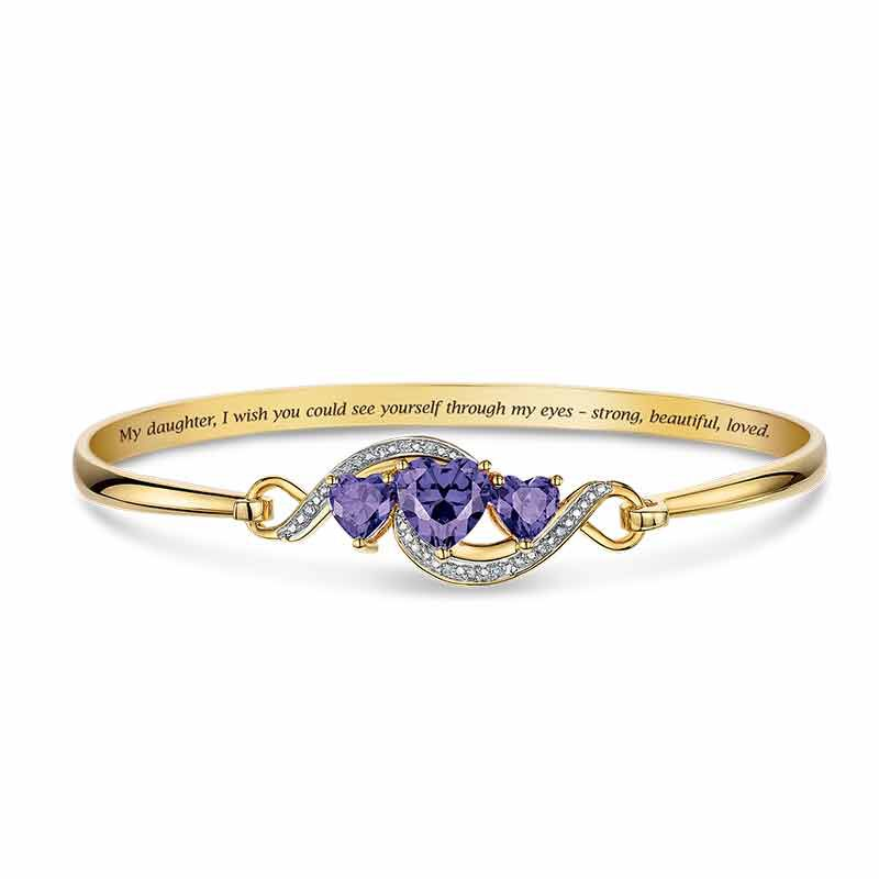 Strong Beautiful Loved Three Heart Bangle 6528 001 8 1