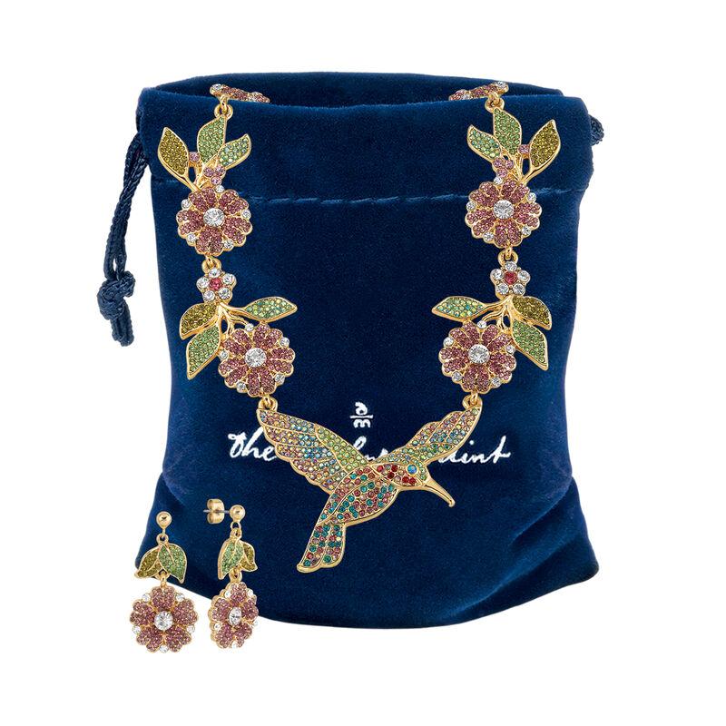 Soaring Splendor Hummingbird Neck and Earrings 10054 0012 g gift pouch