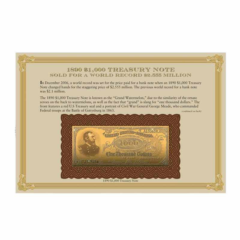 22kt Gold Replicas of Classic US Paper Currency Collection 9497 004 3 1