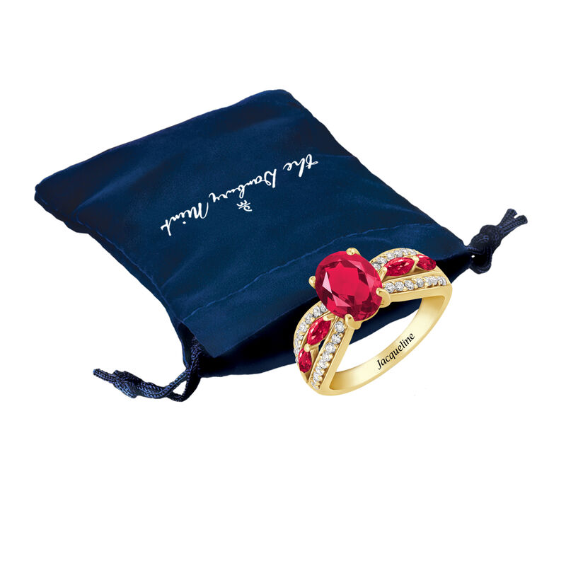 Ruby Red Ravishing Personalized Ring 10103 0021 m gift pouch