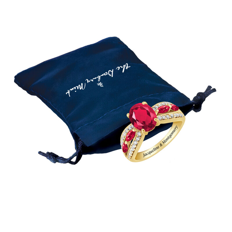 Ruby Red Ravishing Personalized Ring 10103 0013 m gift pouch