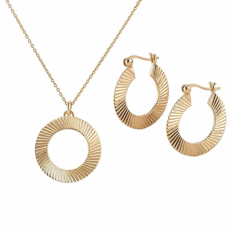 Golden Waves Pendant  Earring Set 6421 001 6 1