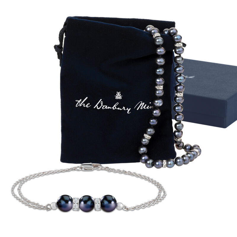 Midnight Spell Black Pearl Necklace with FREE Bracelet 1333 0311 g giftpouch display box