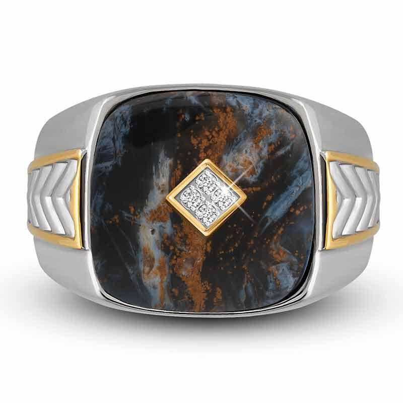 Eye of the Storm Pietersite  Diamond Ring 4951 001 9 3