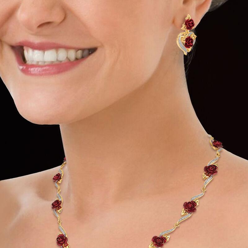 A Dozen Roses Heart Necklace Earring Set 10244 0013 n model