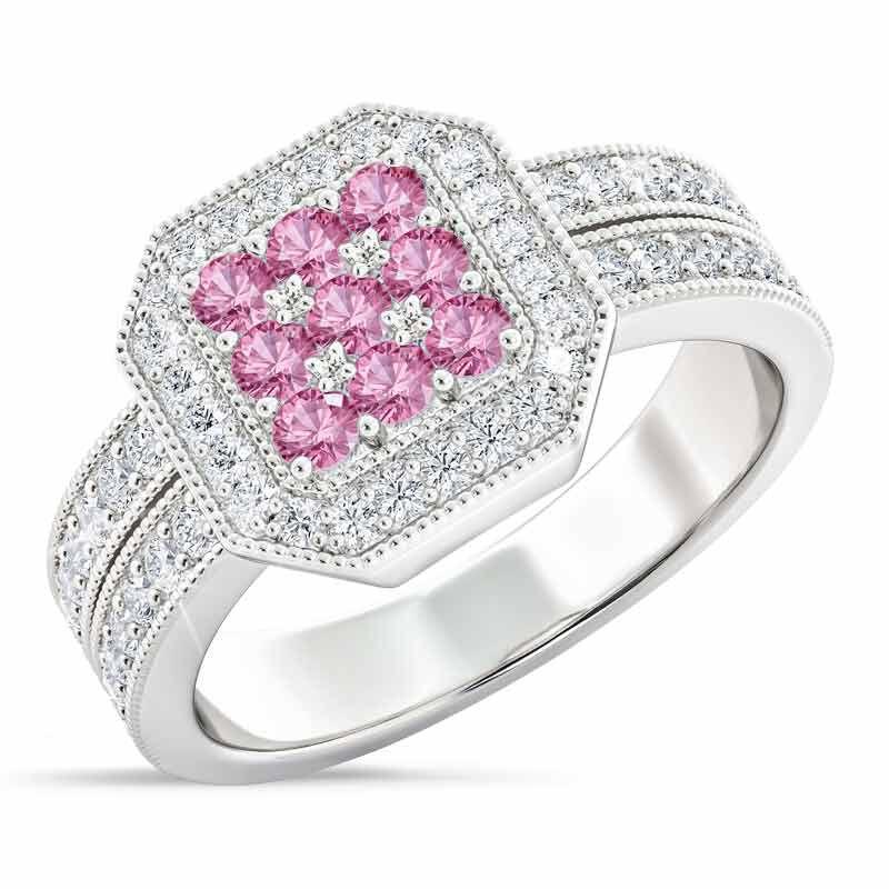 Flair  Square Personalized Birthstone  Diamond Ring 2306 001 5 10