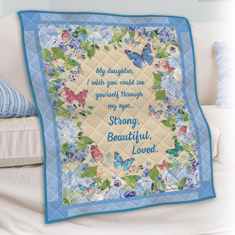 Strong Beautiful Loved Daughter Butterfly Quilt 10210 0013 m room