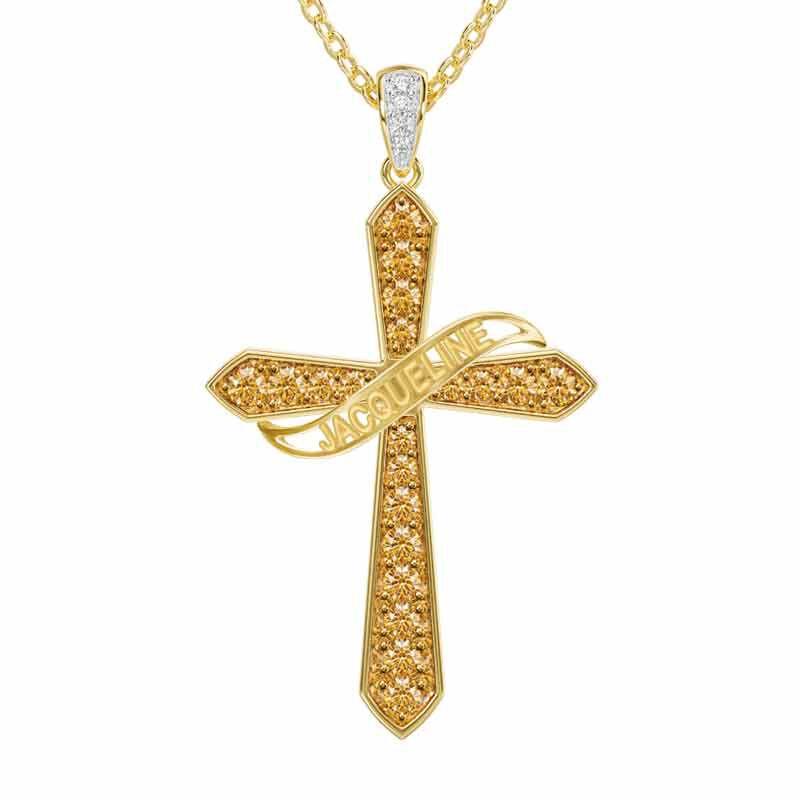 The Birthstone  Diamond Cross Necklace 6787 001 4 11