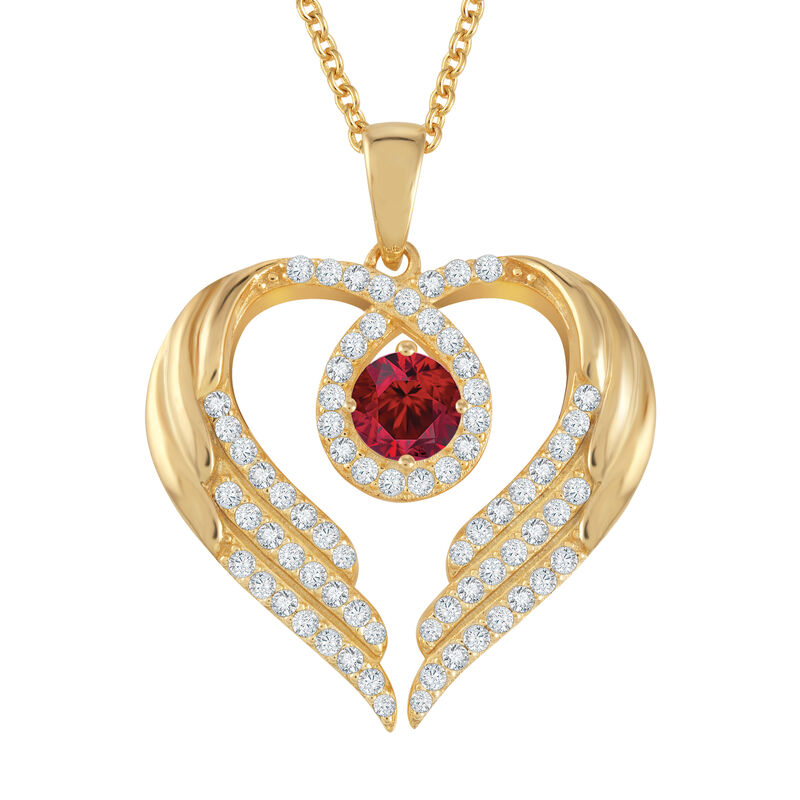 Birthstone Pendant Angel Heart Wing 6721 0013 h july