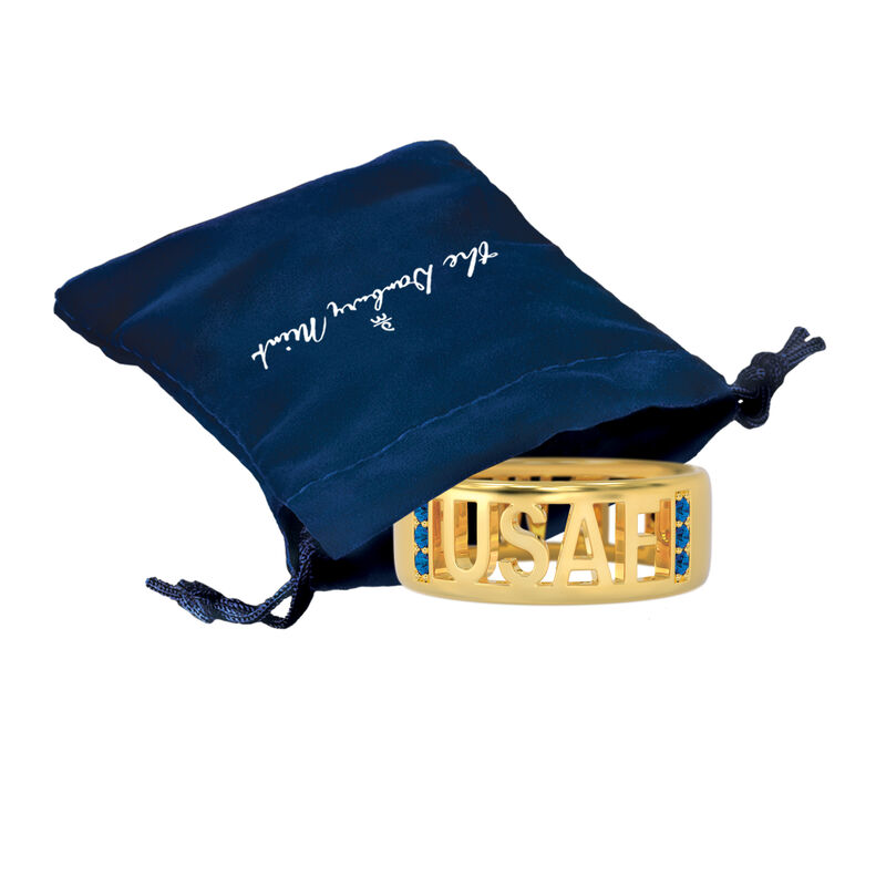 Military Initial Ring 10234 0049 g gift pouch