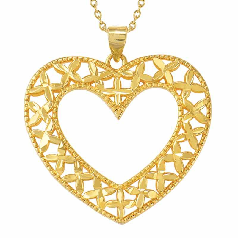 Golden Kisses Diamond cut Heart Pendant  Earring Set 2257 006 3 2