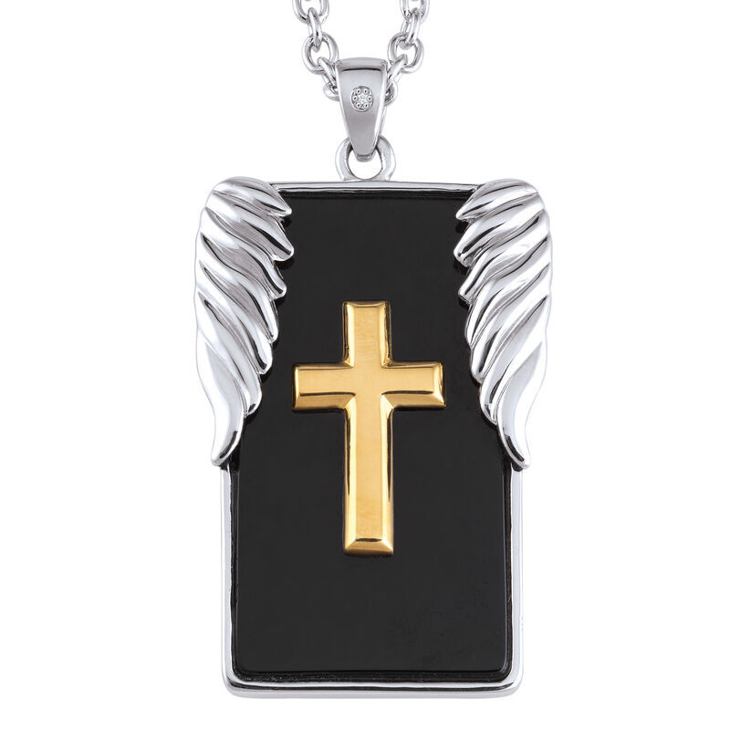 Strength and Protection For My Son Diamond and Onyx Pendant 6780 001 1 2