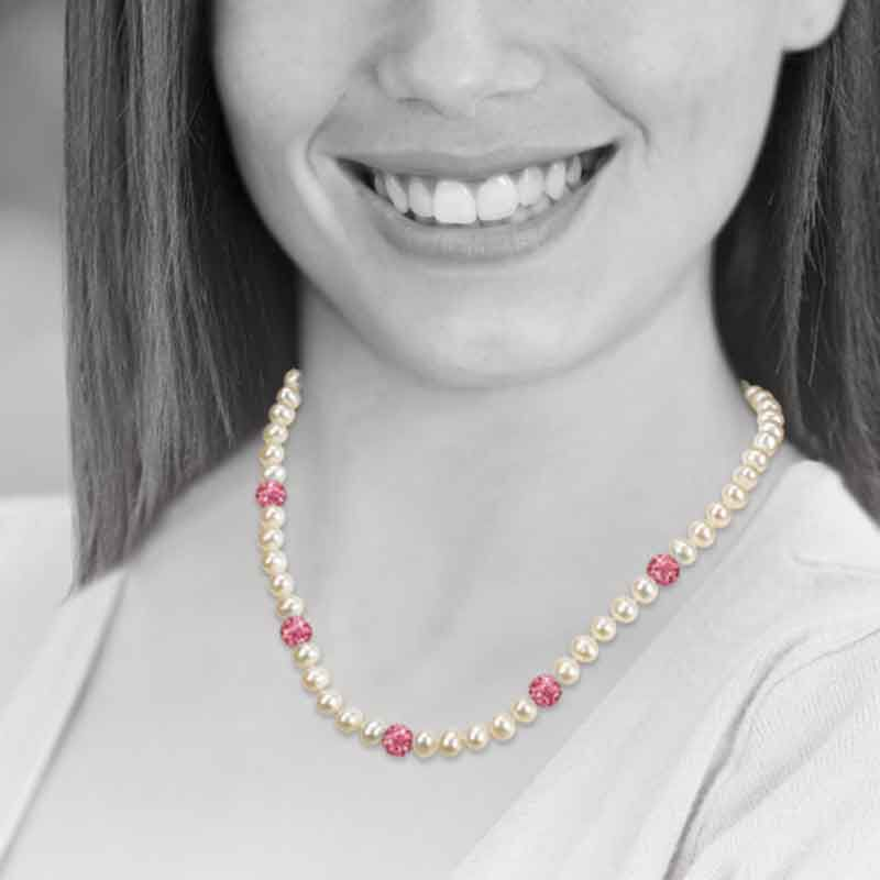 Bedazzled with Birthstones Pearl Necklace 5106 001 0 14