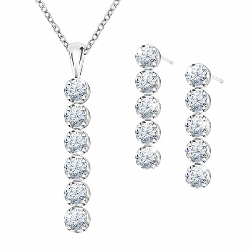 Wondrous Waterfalls Diamonisse Earring and Pendant Set 0839 003 1 1
