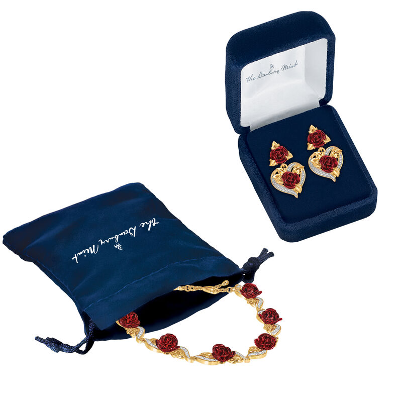 A Dozen Roses Heart Bracelet and Earring Set 6308 0022 g gift pouch display