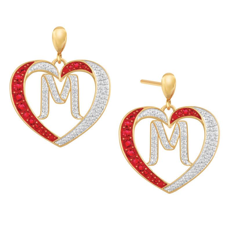 Diamond Initial Heart Earrings 2300 0094 m initial