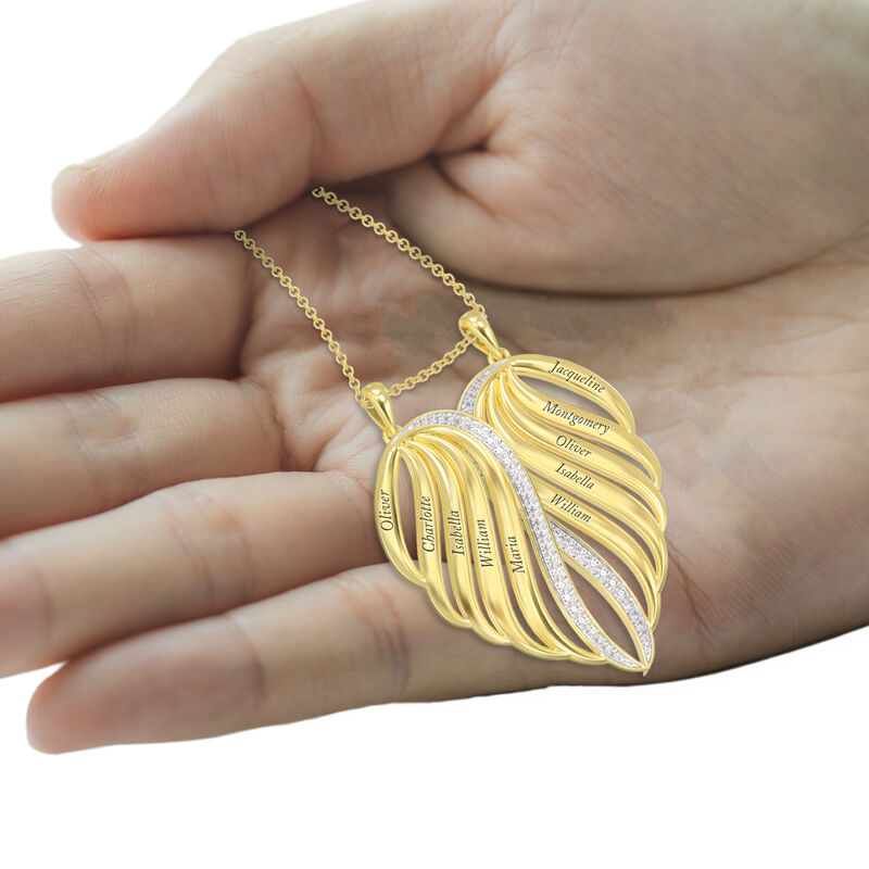 Personalized Family Angel Wing Necklace 10446 0019 b hand
