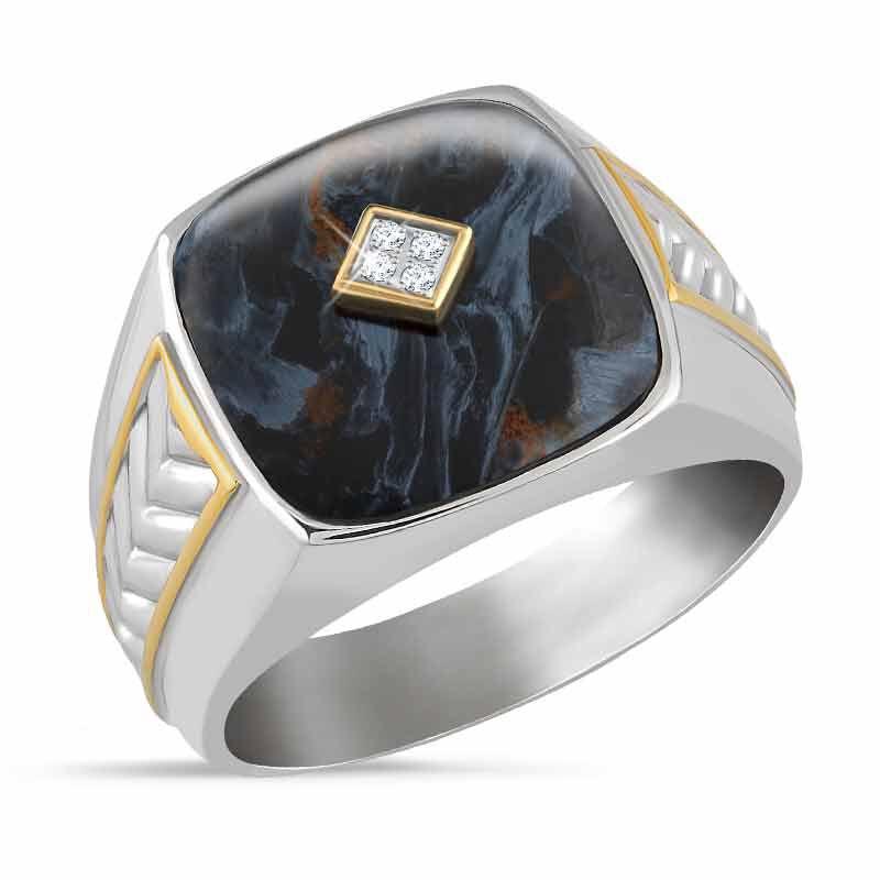 Eye of the Storm Pietersite  Diamond Ring 4951 001 9 1