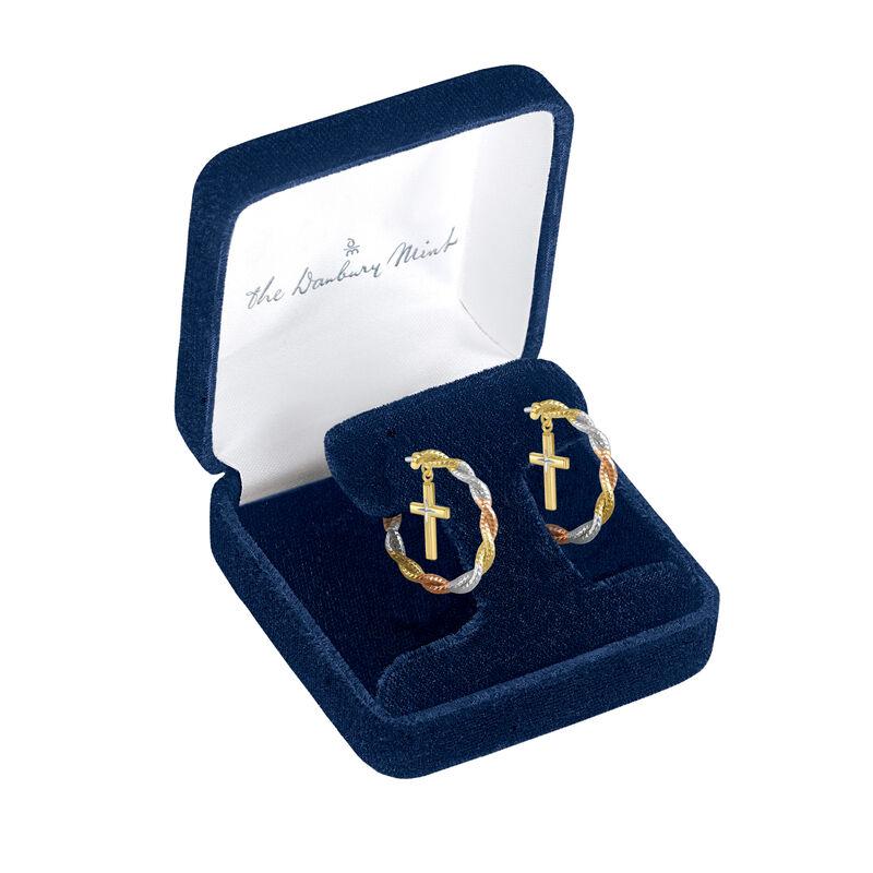 Radiant Hope Copper Cross Hoop Earrings 10211 0012 g gift box