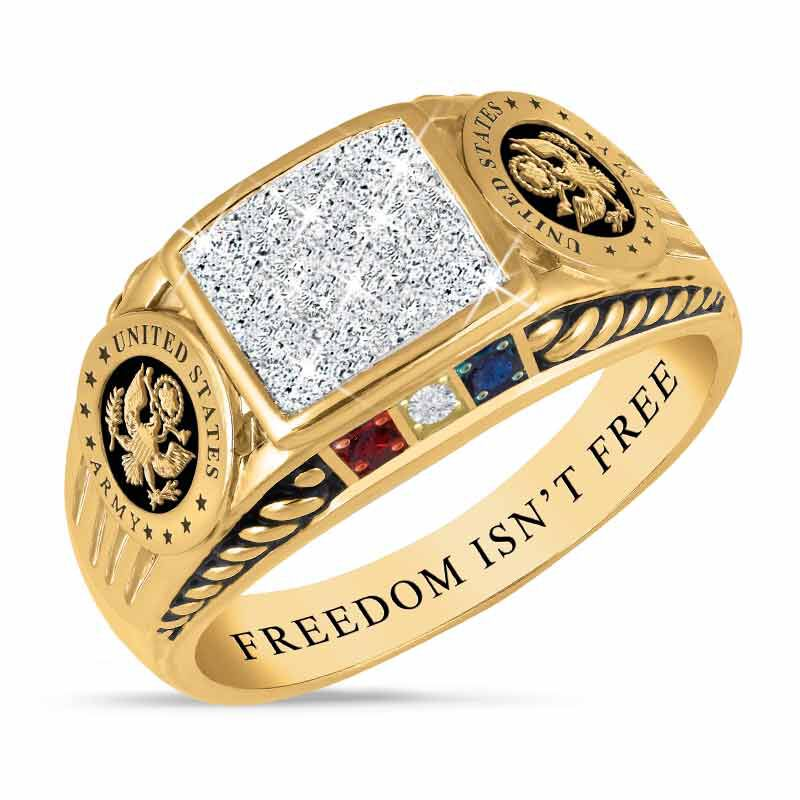 FREEDOM ISNT FREE US Army Diamond Patriot Ring 5958 005 0 1