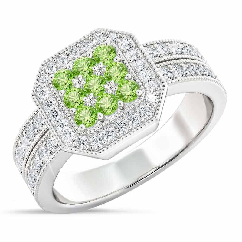 Flair  Square Personalized Birthstone  Diamond Ring 2306 001 5 8