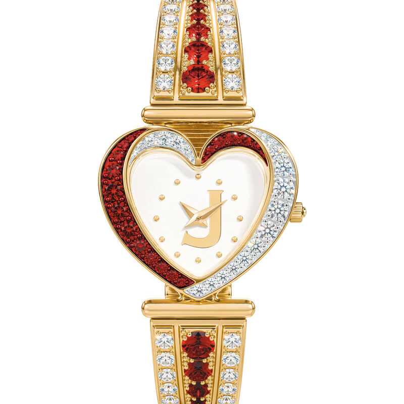 Womens Birthstone Initial Heart Watch 10332 0016 g july
