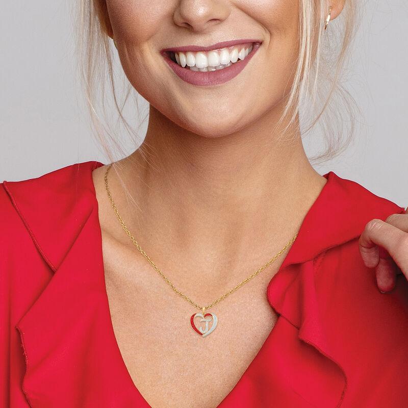For My Daughter Diamond Initial Heart Pendant 10119 0015 z z model